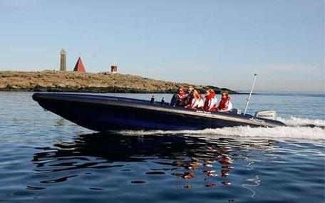 speedboat på vatten med en ö i bakgrunden