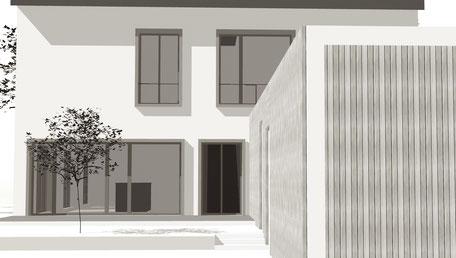 Aussenimpression Einfamilienhaus Neubau Hallau