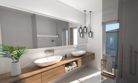 The bathroom with walk-in shower combines simplicity with class.
