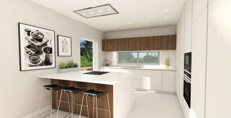 The kitchen is modern and spacious, with sufficient cupboards.