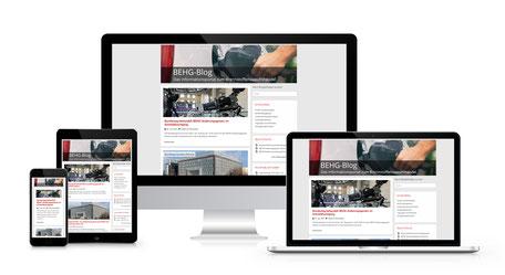 Responsiver Internetauftritt des BEHG-Infomationsportal