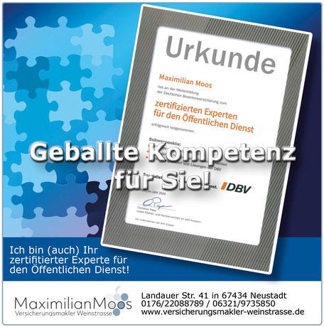 Post Maximilian Moos Versicherungsmakler Weinstraße Urkunde DBV 122020