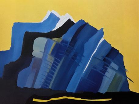 Alpine Aspekte, Blauer Berg, Öl auf Leinwand