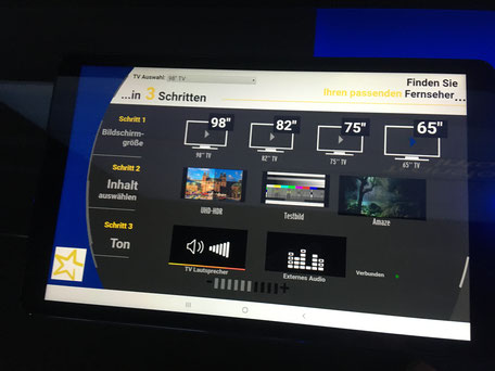 Steuerung des TV-Größenberater per Tablet