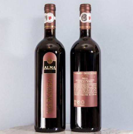 Alma DOC Kontrollierte Ursprungsbezeichnung - Aquileia, Friaul,Rebsorte: Refosco vom roten Stiel - Cabernet Sauvignon - Merlot Ausbau