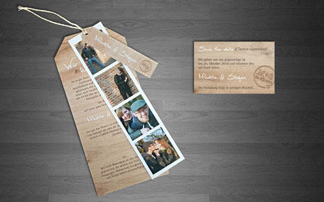 Katja Beter Grafikdesign Hochzeit Einladung Holz