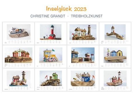 Christine Grandt, Treibholzkunst, Kunstkalender für 2022, Übersicht, 13 maritime Motive, Schwedenhäuschen, Leuchttürme, Hummerbuden auf Helgoland,
