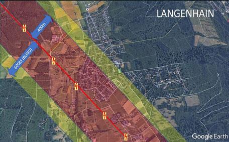 Trassenverlauf und Korridor in Langenhain (Quelle: www.openstreetmaps.org)