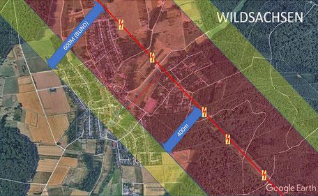 Trassenverlauf und Korridor in Wildsachsen (Quelle: www.openstreetmaps.org)