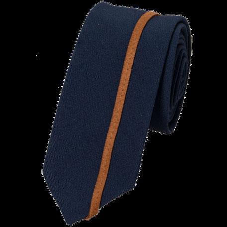Smalle stropdas Senor Guapo marine blauw cognac suede bies modern