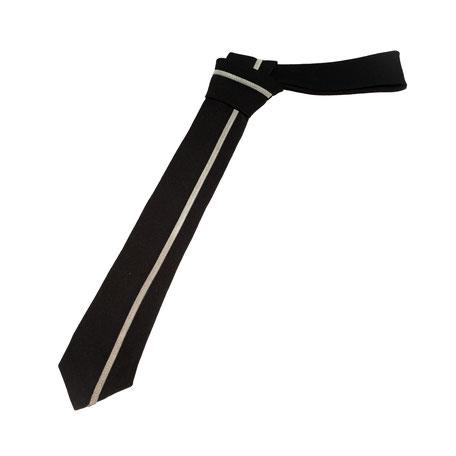 Smalle stropdas Senor Guapo zwart suede bies grijs modern