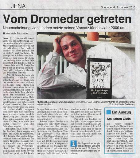 """Zeitungsartikel zu Jan Lindners erstem Buch """"Ein Suppenkasper gibt den Löffel ab"""" in der Thüringer Landeszeitung"""
