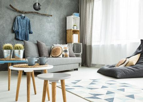 Wohnzimmer in stylischem skandinavischen Design Wiedmann