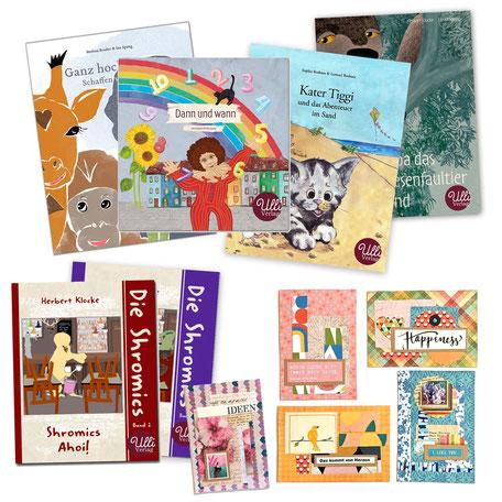 Beim Ulli Verlag gibt es ein buntes Sortiment: Bücher, Kinderbücher, Comics, Postkarten, Notizbücher und Kunstdrucke.