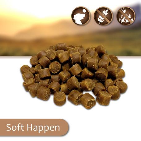 Gesunde Hundesnacks Soft Snacks Happen, Leckerlis für Hunde, ohne Zucker, getreidefrei