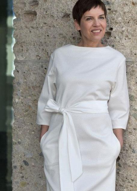 Kimonokleid, Brautkleid, Standesamtkleid, Hochzeitskleid, Sommerkleid in Weiß, Kleid mit Schleife, Baumwolle, Taschen