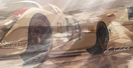 Photographs  of well known Porsches, digital worked over