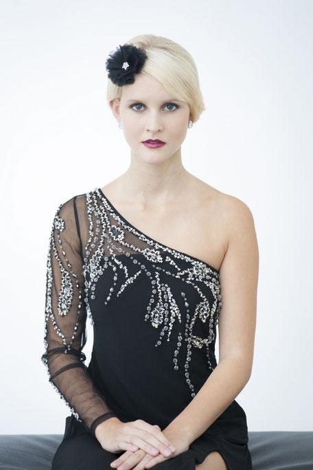 Haarblüte in Schwarz aus Seide mit Strass-Deko für Gala, Abschlussball, Hochzeiten, Feste, Oper...