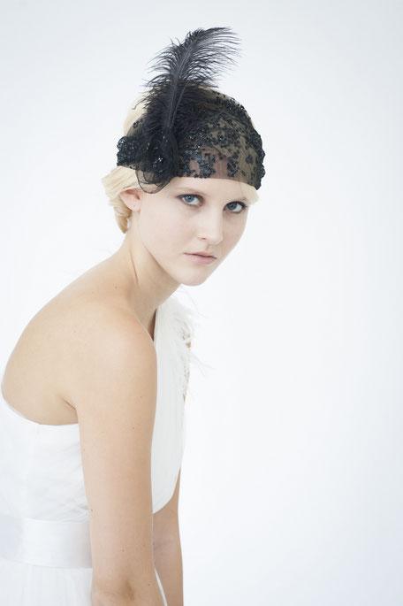 Haarschmuck Gatsby Kopfschmuck in Schwarz. 20er Jahre Haarschmuck. 20ies Headpiece Schwarz.