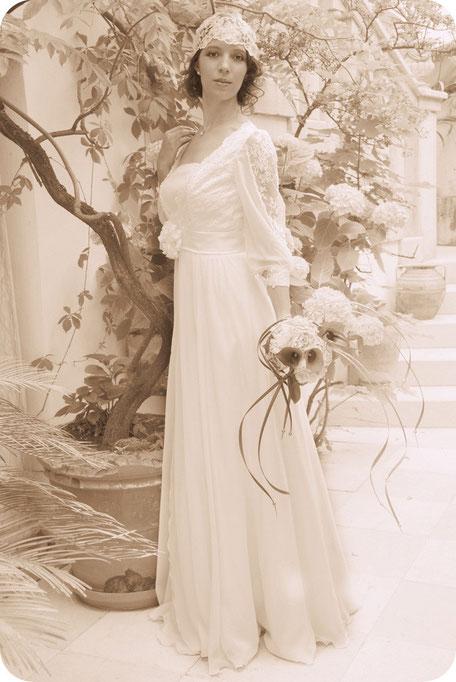 20ies Style Braut mit Braut-Cap 20er Brauthaarschmuck Kopfschmuck