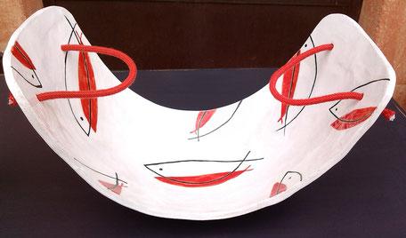 """céramique en grés à motifs """"poissons"""" de martine royer"""