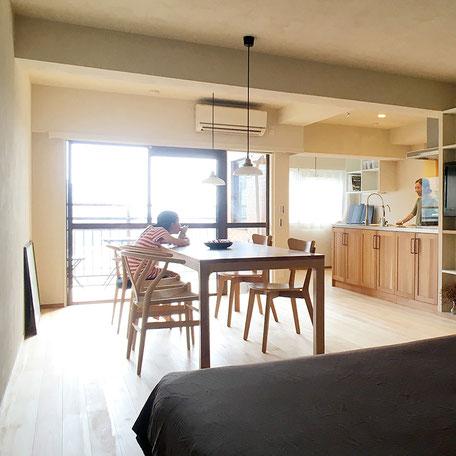 リゾートマンション リノベーション 珪藻土 無垢の木 湯河原 無垢フローリング 床暖房