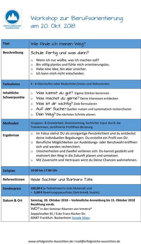 Workshop Berufsorientierung, Berufswahl