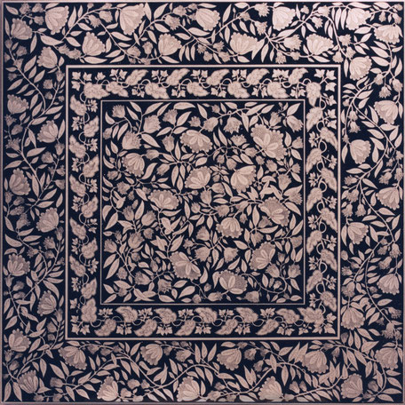 Penwork 100x100cm pen and ink on white laquer.