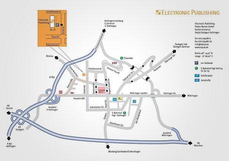 Anfahrt Electronic Publishing. Parkplätze direkt vorm Haus