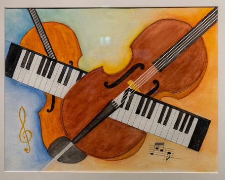 """Nr. 32 / WOLFGANG SCHERAN / """"Hommage an das Altenberg Trio"""", Aquarell auf Papier, 63x53cm, 350,-€"""