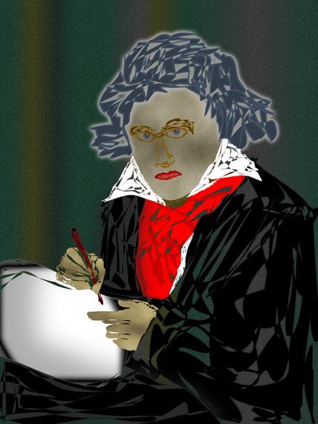 """Josef Grunwald, Vektorgrafik, """"Ludwig van Beethoven"""" (nach einem Gemälde von Joseph Karl Stieler)"""