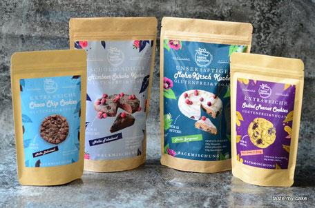 glutenfreie und vegane Backmischung Choco Chip Cooies, Salted Peanut Cookies, Mohn-Kirsch Kuchen, Himbeer-Schoko Kuchen