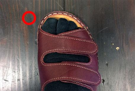〇:インソール内に足が収まっています