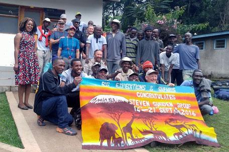 Team Sudgen celebrating their Kilimanjaro Success