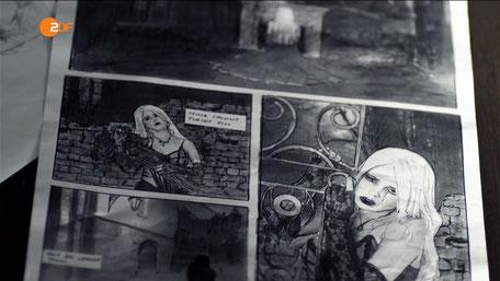 Model Ravienne Art als Gothic Girl in einem Comic für Soko Köln