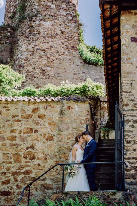 Fotoshooting mit Brautpaar auf Burg Layen bei Bad Kreuznach