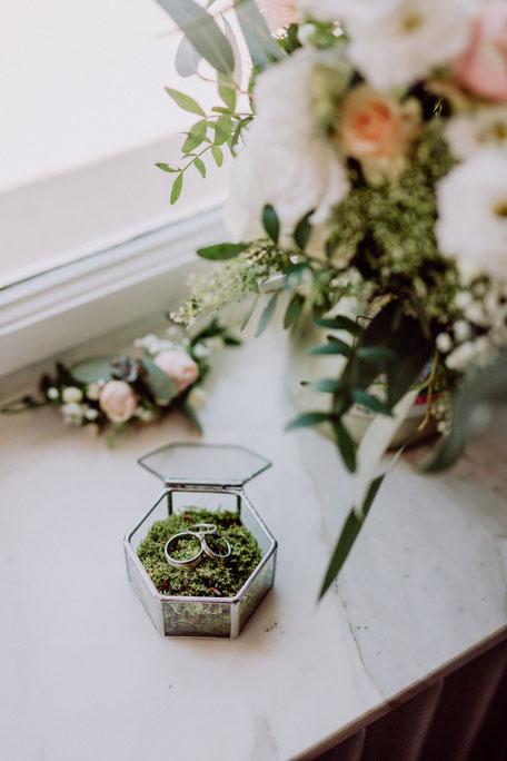 silberfarbene Eheringe in Aufbewahrungskästchen vor der Hochzeit