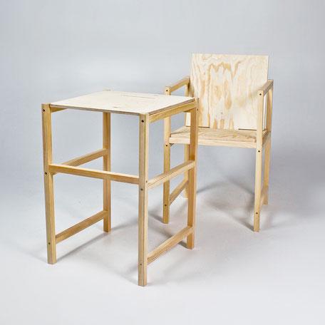 kantiger Holzstuhl zum selber bauen. Als Stuhl und Tisch