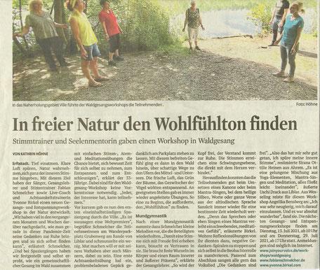 Kölner Stadt-Anzeiger | WALDGESANG-Workshop | Ville | Erftstadt