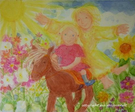 Engel mit Mädchen und Pony