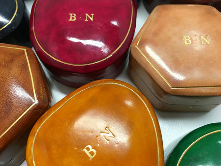 leather small boxes gold print