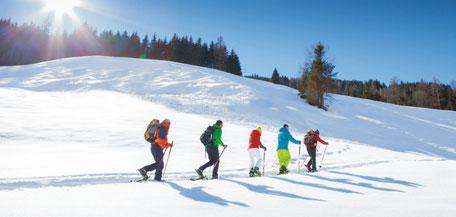 Schneeschuh Wanderer