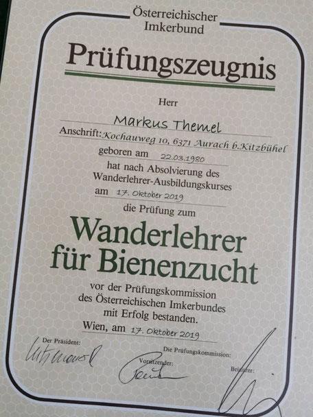 Prüfungszeugnis Wanderlehrer