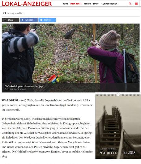 Der Bericht im Online Lokalanzeiger mit meinem Foto. Rechts: mein Kalender