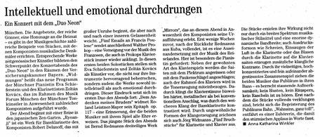 """Duo NEON, Eva Schieferstein mit Zoltán Kovács (Klarinette), Konzert """"Widmungen"""", Kritik nmz"""
