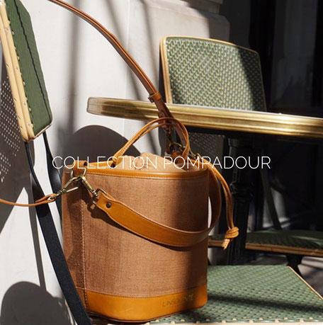 Sac seau l'Insolente Paris - Pompadour camel - sacs et pochettes en lin et cuir - Maroquinerie pour femmes - sac porté épaule et main. Accessoire de mode en lin camel
