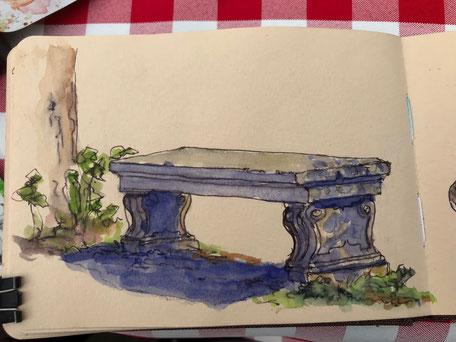 Birgit Lippeck_ Parkbank im Englischen Garten Esterhaza