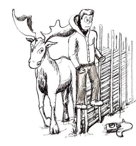 Der Herr Lehrer hängt am Zaun