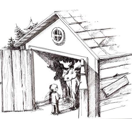 Björn und die Tiere in der Scheune