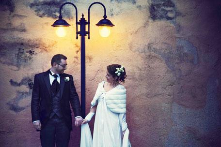 Coppia di sposi, matrimonio invernale
